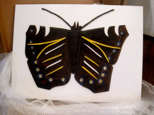 "Untitled Butterfly ca 1970s 31"" x 23""  wood and paint on formica unsigned"